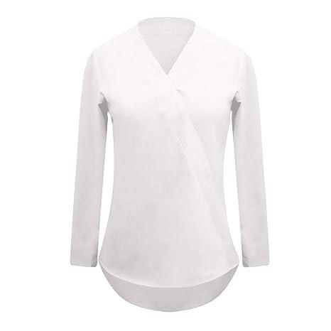 Belasdla Elegante Camisa De Manga Larga Ropa De Mujer Manga Larga Raya Gasa Ocio Camisa: Amazon.es: Ropa y accesorios