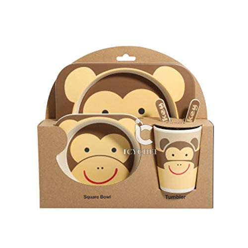 ICYCHEER Super Cute Animal Theme Kids Dinnerware Set Eco-Friendly Bamboo Kids Cups Kids Plates Bowl Toddler Fork & Spoon (monkey)