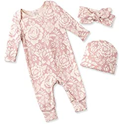 Tesa Babe Spring Floral Romper & Headband + Hat Set for Newborns, Baby Girls & Toddlers, Multi (Vintage Rose, Newborn)