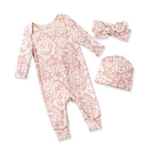 Tesa Babe Spring Floral Romper & Headband + Hat Set for Newborns, Baby Girls & Toddlers, Multi (Vintage Rose, 6-12 Months)