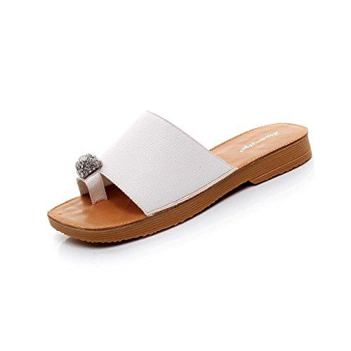 5 D'été En Air cn40 Eu39 Plat Pantoufles couleur Sandales Plage Strass uk6 De Mode Chaussures Taille Xy® Femme Fond Plein Carré Blanc Mou Blanc P1IqwOHF