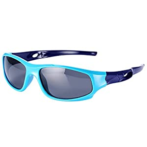 Pro Acme TPEE Rubber Flexible Kids Sports Polarized Sunglasses for Baby and Children Age 3-10 (Baby Blue)