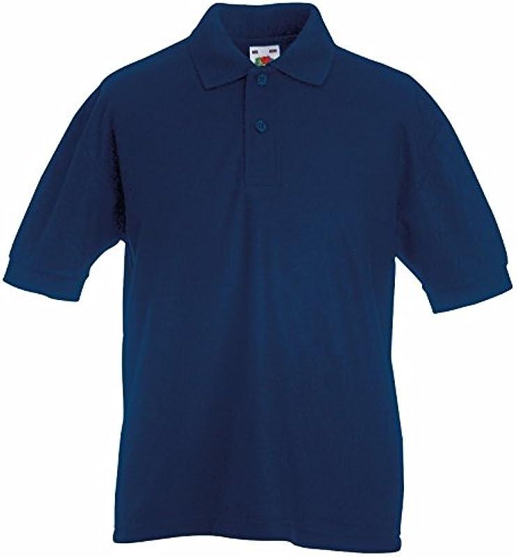 Fruit of the Loom koszulka polo dla dzieci, z poliestru i bawełny, krÓtki rękaw, granatowy, 12-13 lat: Odzież