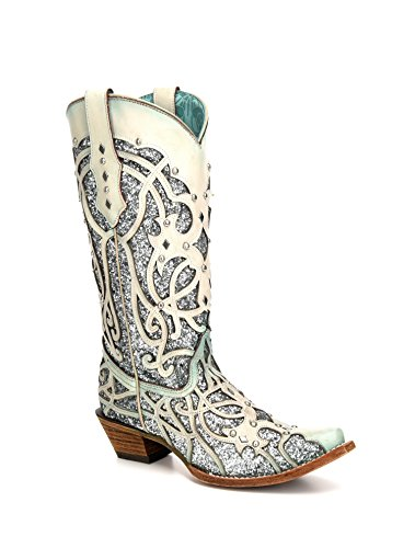Corral Women's chamaleon Sun Effect Snip Toe Leather Cowgirl Boots - Bone