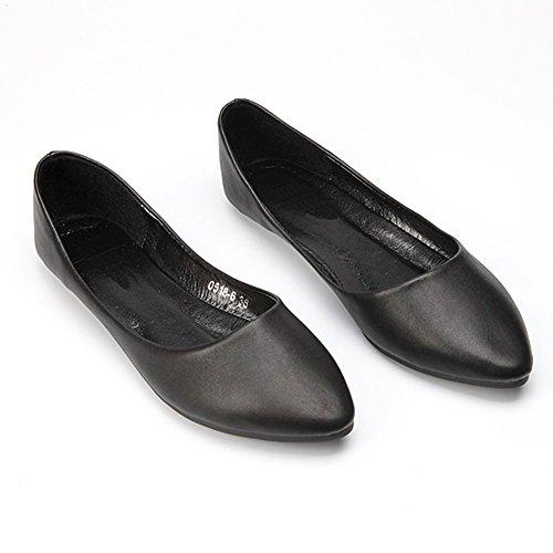 Fereshte Femme Confort Similicuir À Bout Pointu Chaussures À Talons Plats No.261 Noir