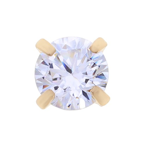 14K Yellow Gold 2mm White Cubic Zirconium Nose Ring Straight Stud 22G (14k Cubic Ring Zirconium)