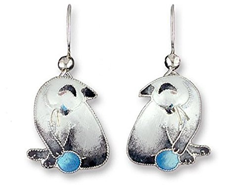 (Zarah Siamese Cat Sterling Silver and Enamel Earrings by Julia Pinkham)