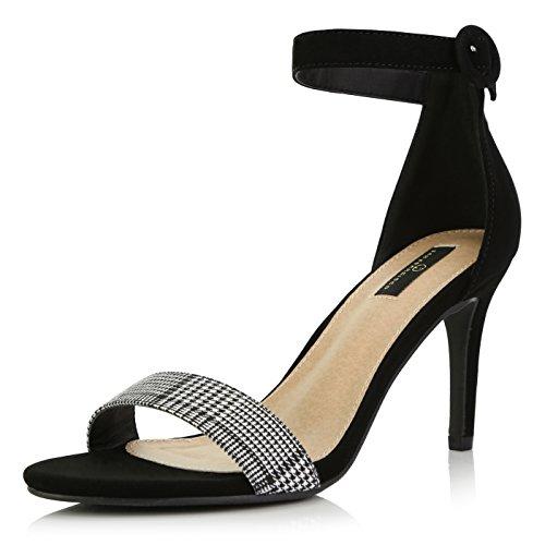 - DailyShoes Women's Stilettos Open Toe Pump Ankle Strap Dress High Heel Sandals, Checker Black Suede, 7 B(M) US