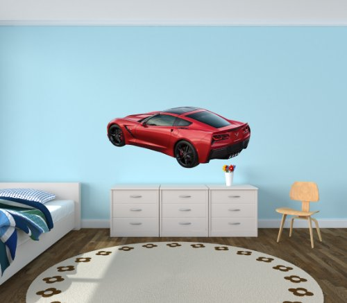 Sports Car Wall Decal, Corvette Wall Decals, Car Stickers (Red Offset Corvette)