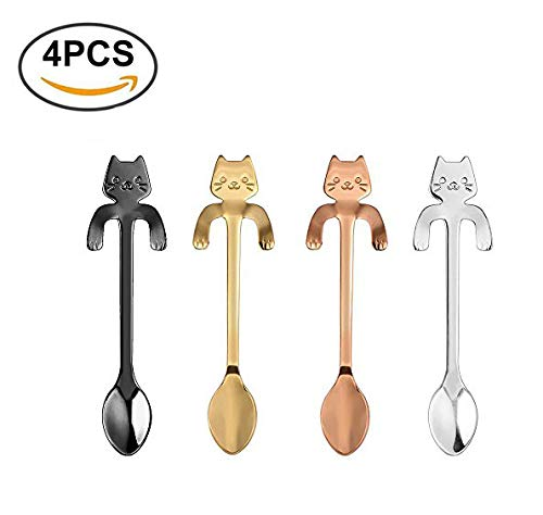 Feb.7 4PCS Stainless Steel Mini Cat Kitten Design Stainless Steel Coffee/Tea/Dessert/Drink/Mixing/Milkshake Spoon Tableware Flatware ()
