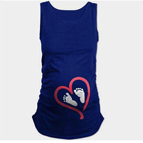 - Goddessvan Pregnant Shirts for Women,Summer Sleeveless Blouse Footprint Print for Maternity T-Shirt (XL, Blue)