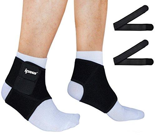 [ 2er Set ] Ipow® Knöchelbandage Fußbandage Atmungsaktive Einstellbare Sprunggelenk Unterstützung für Arthritis, Verstauchungen und Sport - Schwarz M (40 - 44)