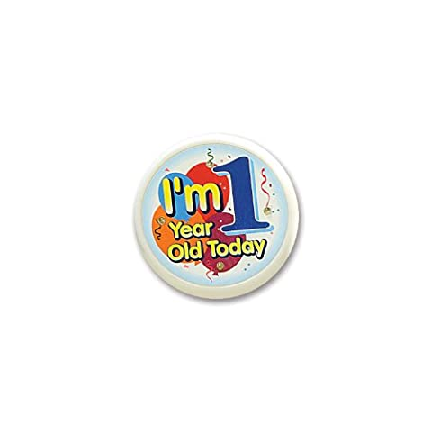 Beistle FB51 I'm 1 Year Old Today Flashing Button, 2-1/2-Inch (1st Birthday Girl Pin)