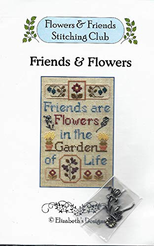 Friends & Flowers Cross Stitch Pattern by Elizabeth's Designs with Flower Ornaments - Flowers & Friends Stitching Club ()