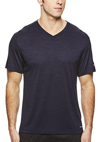 HEAD Men's V Neck Gym Training & Workout T-Shirt - Short Sleeve Activewear Top - Flash Navy Heather Blue, X-Large