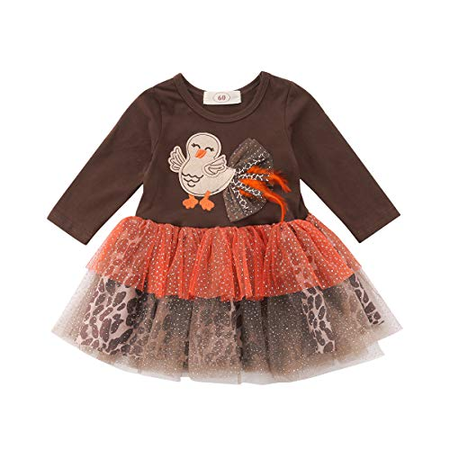 FUFUCAILLM Newborn Baby Girl Thanksgiving Outfit Dress Long Sleeve Turkey Leopard Tulle Tutu (Brown, 0-6 Months) -