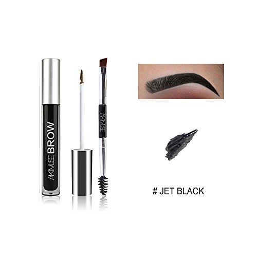 Waterproof Eyebrow Pen, WeChip Semi Permanent Eyebrow Gel Fast Dry Waterproof Anti-sweat Long Lasting Double-ended Pen Eye Makeup (# Jet black)
