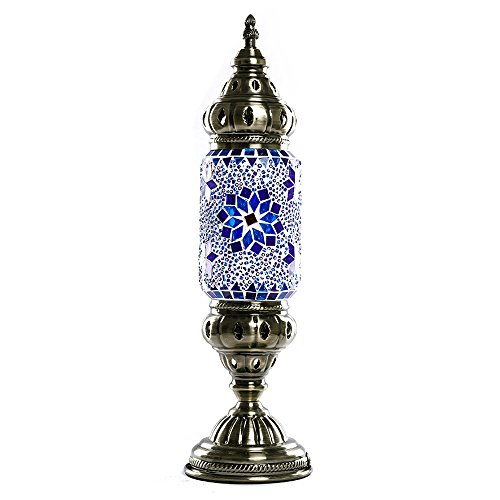 Mosaic Lamp Handmade Turkish Mosaic Glass Table Lamp Decorative Desk Lights Blue Flower Moroccan Table lamp Lantern (Lamp Flower Table)
