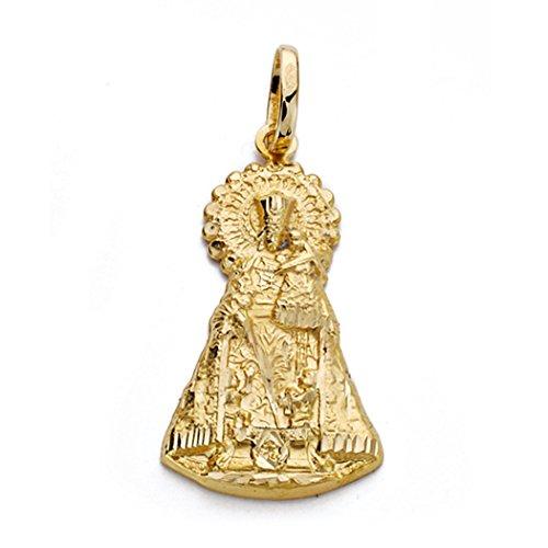 18k médaille d'or Vierge Desamparados 28mm silhouette. [AA0116]