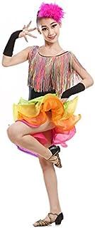 Danses Latines Enfants Costumes Spectacles de Frange de Paillettes de Jupe de Danse Latin de Filles vêtements