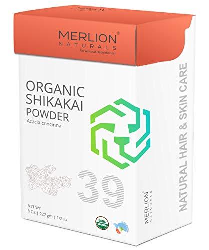 Organic Shikakai Powder by MERLION NATURALS | Acacia Concinna | USDA NOP Certified 100% Organic | Vegan | Excellent Hair Conditioner (8 OZ)