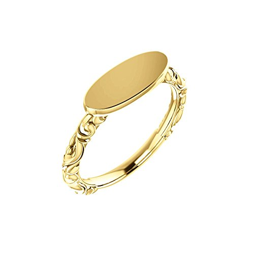 Bonyak Jewelry 14k Yellow Gold Oval Signet Ring - Size ()