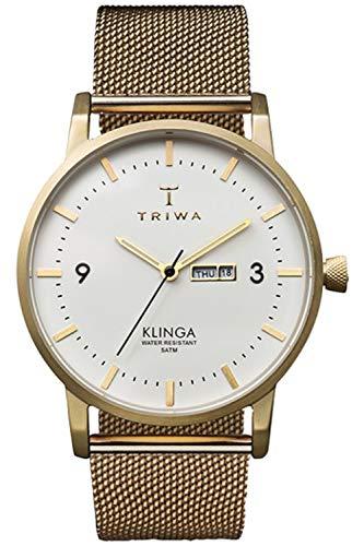 Triwa klinga Unisex Analog Japanese Quartz Watch with Stainless Steel Gold Plated Bracelet KLST103ME