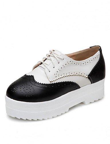 ZQ 2016 Zapatos de mujer - Plataforma - Creepers / Punta Redonda - Oxfords - Exterior / Vestido / Casual - Semicuero - Negro / Plata , silver-us10.5 / eu42 / uk8.5 / cn43 , silver-us10.5 / eu42 / uk8. silver-us8 / eu39 / uk6 / cn39