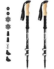 ENKEEO Trekkingstöcke Wanderstöcke verstellbare Teleskopstöcke für Trekking und Wanderungen, 65cm- 135cm,1 Paar