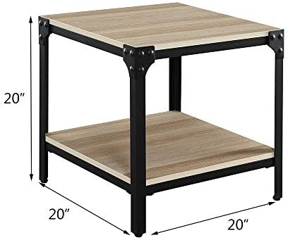 Romatlink Nightstands, Industrial-Style Side Table for Living Room, Stable Metal Frame Wooden End Table with Large Storage Rack Sturdy, Easy Assembly, Wood Look Accent Furniture
