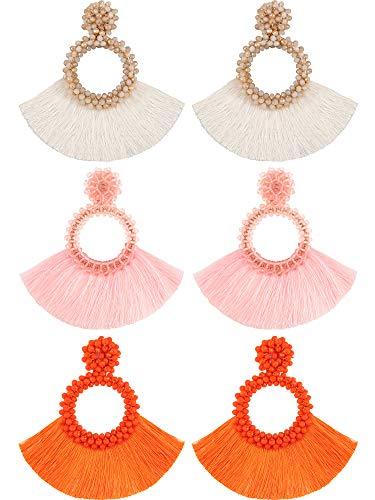- 3 Pairs Bohemian Hoop Tassel Earrings Beaded Fringe Dangle Earrings Shiny Earrings for Retro Vintage Style (Color Set 2)