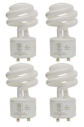 SleekLighting - 13Watt GU24 Base 2 prong light bulbs-120v 60Hz - Mini Twist Lock Spiral -Self Ballasted CFL Two Pin Fluorescent Bulbs- 3500K 900lm Neutral White 4pack (60Watt Equivalent)UL Listed ()
