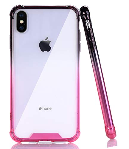 (BAISRKE Slim Black HotPink Gradient Shock Absorption Protective Cases Soft TPU Bumper & Hard Plastic Back Cover iPhone Xs Max 2018 6.5)