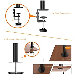 1home Dual Monitor Desk Mount Stand for LCD LED Monitor Fully Adjustable Tilt Swivel Rotation fits Two Screens up to 27''