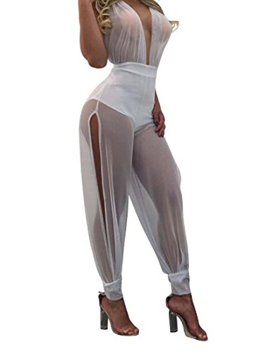 Blanc Large Mesh Couleur L HEFEI Bustier Sexy XIAOXAIO Perspective Pantalons Taille 2018 Multi Couleur PrPWYOZ