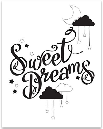 Sweet Dreams Print (Black & White Sweet Dreams - 11x14 Unframed Art Print - Great Gift for Bedroom Decor)