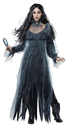 Womens Halloween Vampire Cosplay Dress Victorian Ghost Bride Costume (Large, Black)