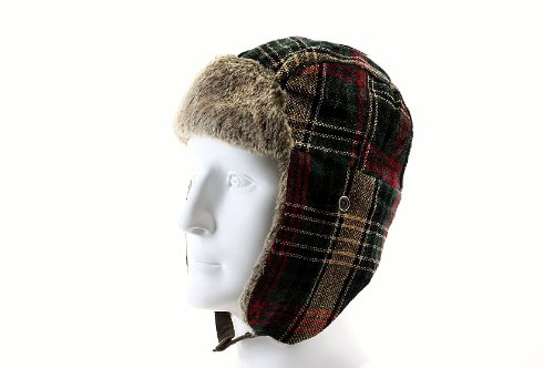 Chenille Woorich Plaid Trapper Hat with Faux Fur EarFlaps W0590 (Purple)