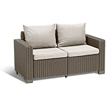 Keter California All Weather Outdoor 2-Seater Patio Sofa Loveseat with Cushions in a Resin Plastic Wicker Pattern, Cappuccino/Sand