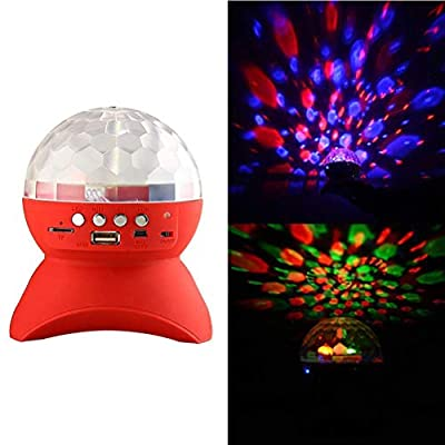 TongBF Portable Bluetooth Speaker With Built-in Light Show,stage Studio Special Effects Lighting, RGB Color Changing, Led Crystal Ball Auto Rotating, With Music Player For Tf Card by TongBF
