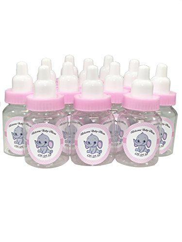 Baby Shower Bottle Favors with Custom Personalized Stickers (Pink Bottle - Elephant, 24 Bottles) ()