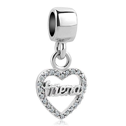 SexyMandala Heart Love Mum/Sister/Friend/Niece/Family Bead For European Bracelets (Charm Friend Heart)