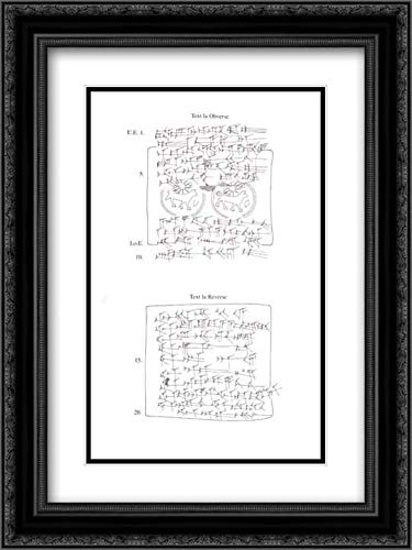 Assyrian Culture - 18x24 Black Ornate Frame and Double Matted Museum Art Print - Cuneiform Tablet case Impressed with Stamp Seal, for Cuneiform Tablet 54.117.27b: Loan of Silver