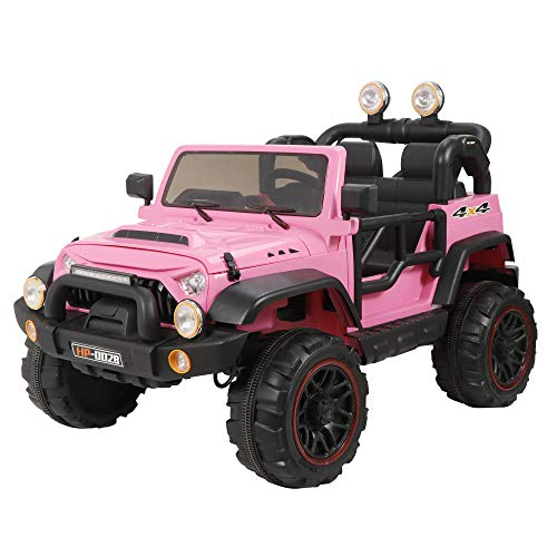 ZENY 12V Kids Ride On Car Truck Electric Ride On Vehicle Toy Children's Motorized Cars with Remote Control,3 Speeds,LED Lights,Double Doors,Story & Music,Spring Suspension (Pink)