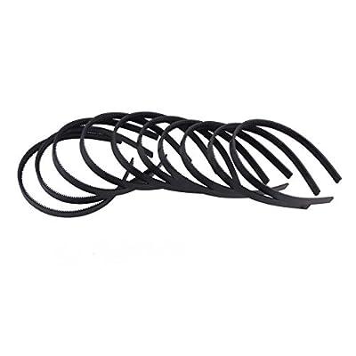 "2/5""(1cm) Width Womens Girls Plain with Teeth Plastic DIY Hair Accessories Headbands Headwears (Black) 36pcs Per Pack"