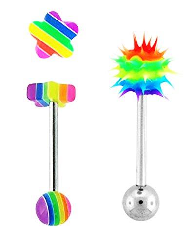 (2 pc lot Rainbow uv Flower & Koosh tickler Tongue Ring Rings - 14g)