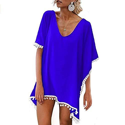 87aab5ade0d31 Beach Coverups for Women, Pom Pom Trim Kaftan Chiffon Swimsuit Cover Up, Royal  Blue