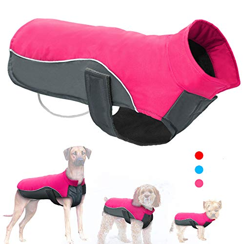"""Didog Reflective Dog Winter Coat Sport Vest Jackets Snowsuit Apparel - 8 for Small Medium Large Dogs (Chest:15-18"""",Back Length:14"""", Hot Pink)"""