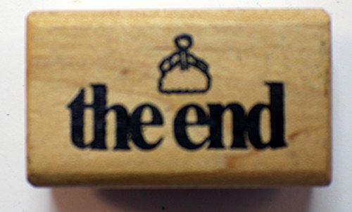 The End saying Book Fanaly Words Writing East Coast Art Stamps Wooden Rubber Stamp