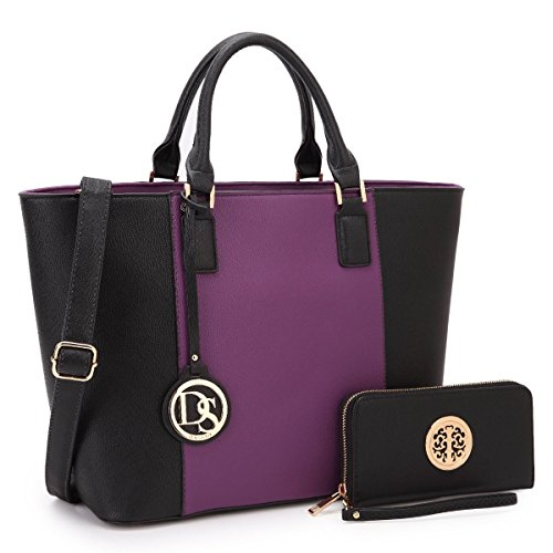Hand Carry Shopper Tote Bag - Dasein Women's Designer Large Laptop Top Handle Structured Tote Bag Satchel Handbag Shoulder Bag Purse (6417 Purple/Black)